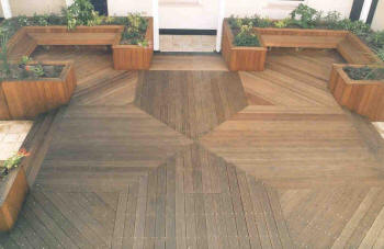 complex deck flooring pattern / design.
