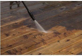 After pressure washing the deck lumber is like new