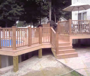 Deck foundation using 6 x 6 pressure treated posts