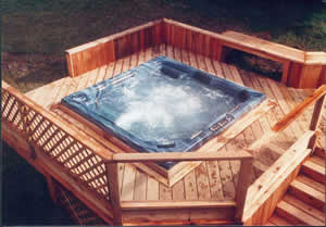 hot tub on raised deck